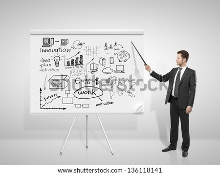 businessman pointing at business concept on flip chart - stock photo