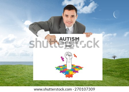 Businessman pointing at sign under him against field and sky - stock photo