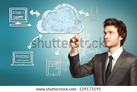 Businessman pointing cloud computing, technology connectivity concept - stock photo
