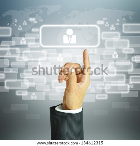 Businessman pointing human resources sign - HR, HRM, HRD concept