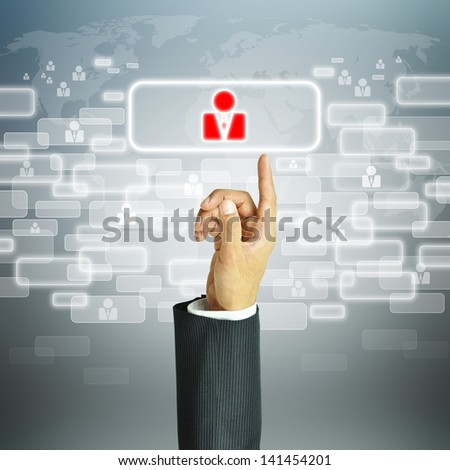 Businessman pointing human sign - HR,HRM,HRD ,CRM concept
