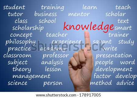 businessman pointing knowledge concept