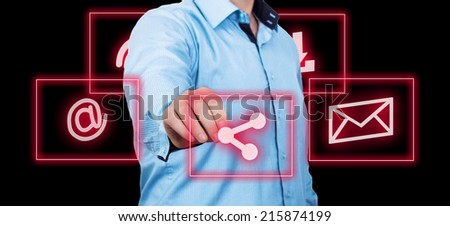 Businessman pointing on a glossy world map. - stock photo
