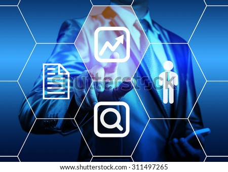 businessman pointing on digital screen choose chart icon - stock photo