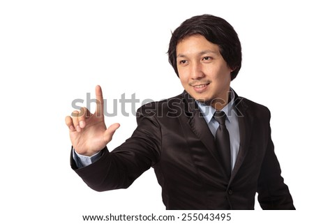 Businessman pointing on imagination screen, white background - stock photo