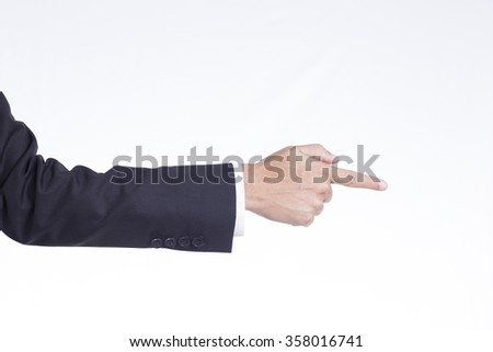 Businessman Pointing or Touching on Isolated White Background