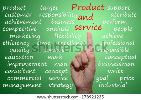 businessman pointing product and service concept  - stock photo