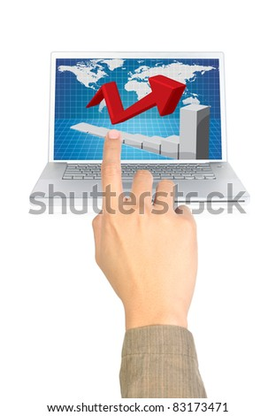 businessman pointing the chart on computer - stock photo