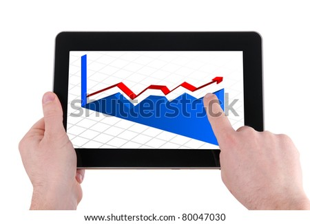 businessman pointing the chart on pad - stock photo