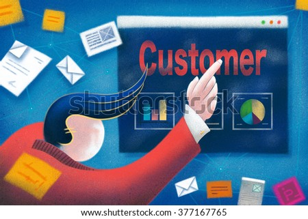 Businessman pointing to a Customer business presentation. - stock photo