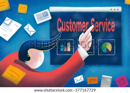 Businessman pointing to a Customer Service business presentation. - stock photo