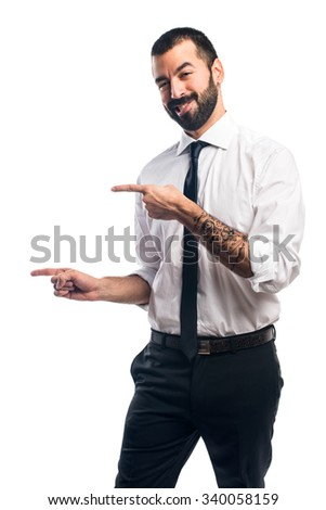 Businessman pointing to the lateral