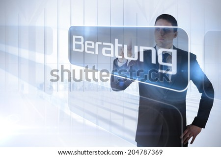 Businessman pointing to the word advice in german against white room with large window overlooking city - stock photo
