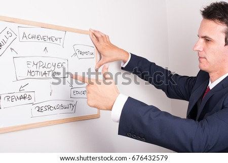businessman pointing with finger on white board