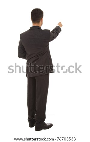 Businessman points finger up. Isolated on white background - stock photo