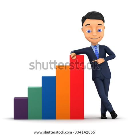 Businessman points on a graph