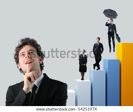 businessman portrait and team people on 3d stat