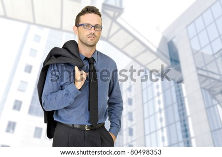 Businessman posing in a business center - stock photo