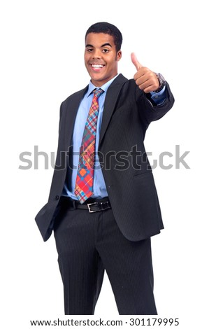 Businessman posing isolated in white - stock photo
