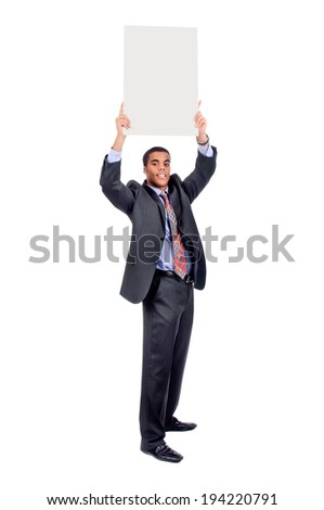 Businessman posing with big board isolated in white - stock photo