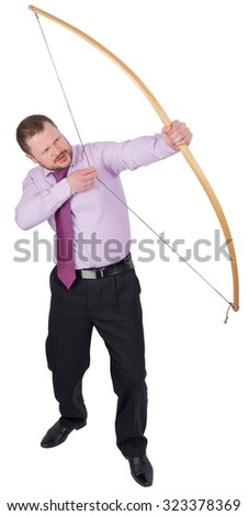 Businessman practicing archery isolated white background