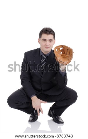 Businessman prepared to receive a ball - stock photo