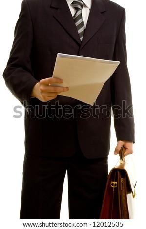 Businessman preparing for his presentation - stock photo