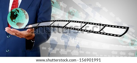 Businessman present new movie to buyer, Movie business concept