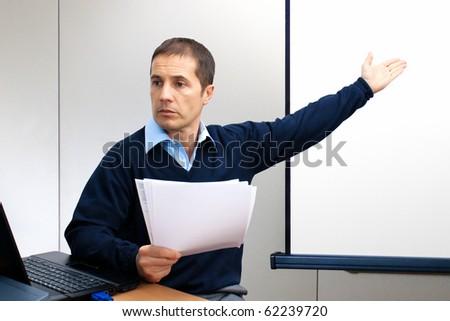Businessman presenting - stock photo
