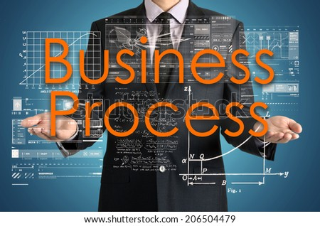 businessman presenting Business Process concept of his own hands:  - stock photo