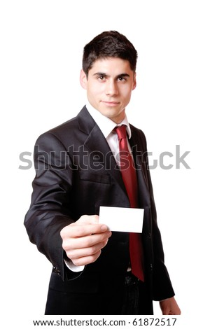 Businessman presenting card isolated on white selective focus - stock photo