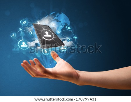 Businessman presenting cloud technology in his palm - stock photo