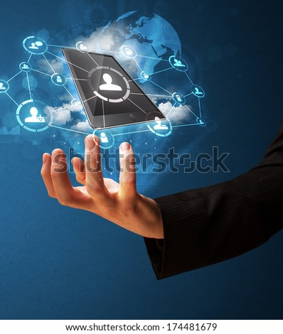 Businessman presenting cloud technology in his palm