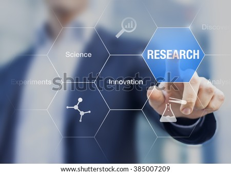 Businessman presenting concept about research, innovation and experiments, hand touching a button on virtual screen and icons about chemistry - stock photo