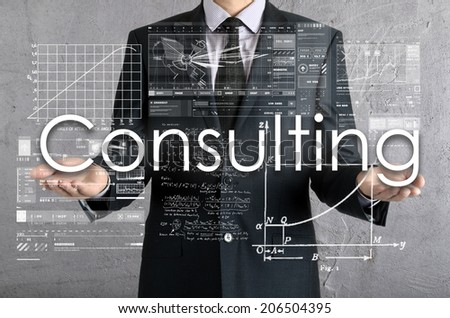 businessman presenting Consulting concept of his own hands:  - stock photo