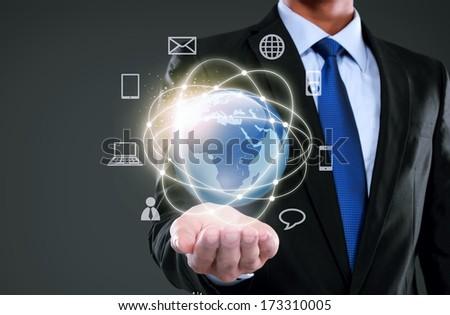 Businessman presenting global network media concept - stock photo