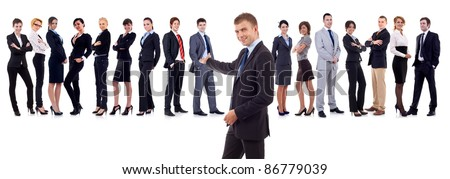 businessman presenting his team isolated over a white background - stock photo