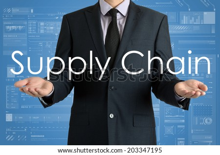 businessman presenting sign Supply Chain with their hands - stock photo