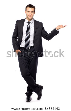 Businessman presenting something - stock photo