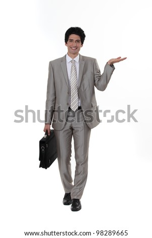 businessman presenting something