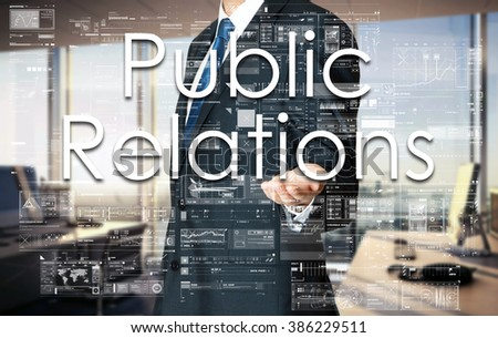Businessman presenting text Public Relations on virtual screen. He is in the office - stock photo
