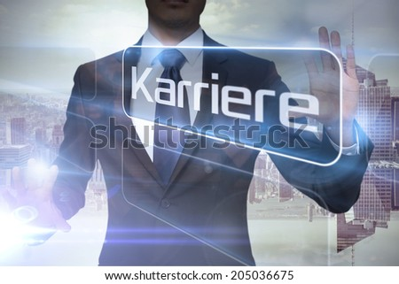 Businessman presenting the word careers in german against room with large window looking on city - stock photo