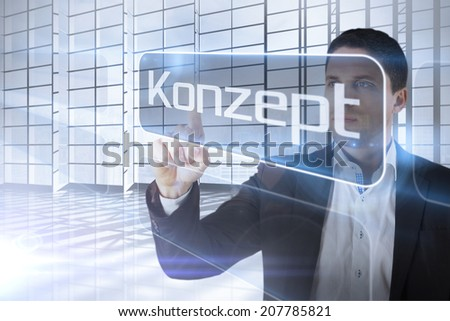 Businessman presenting the word concept in german against room with large window overlooking city - stock photo