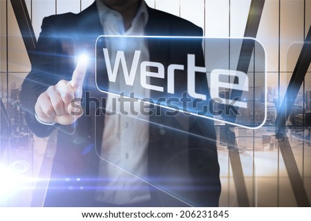 Businessman presenting the word values in german against room with large window looking on city - stock photo