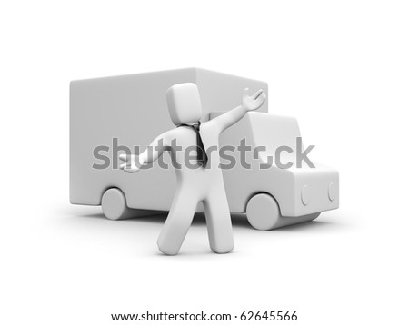 Businessman presents new delivery service - stock photo