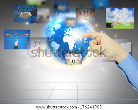 businessman press business world  - stock photo