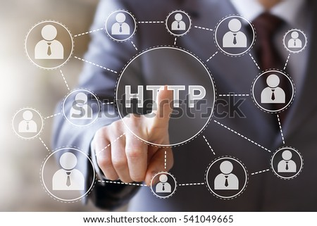 Businessman press button http web network