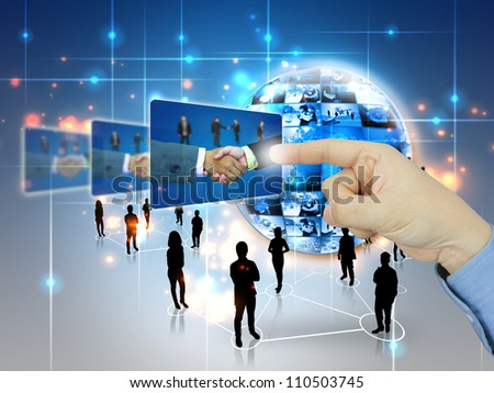 businessman press Successful business - stock photo