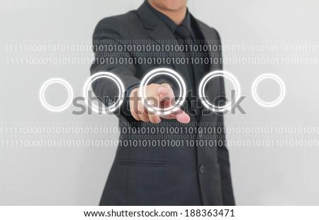 businessman press touchscreen  - stock photo