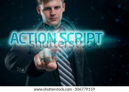 Businessman presses button action script on virtual screens. Business, technology, internet and networking concept. - stock photo